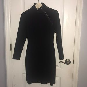 Theory black mock neck dress